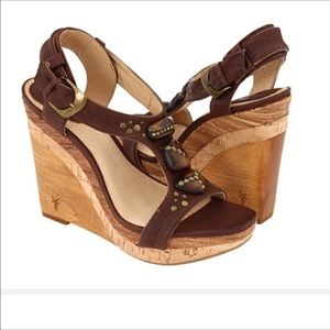 Perfect Frye leather wedges Briget ornaments